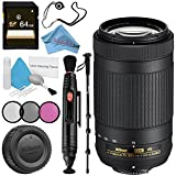 Nikon AF-P DX NIKKOR 70-300mm f/4.5-6.3G ED VR Lens + 58mm 3 Piece Filter Kit + 64GB SDXC Card + Lens Pen Cleaner + Fibercloth + Lens Capkeeper + 70in Monopod + Deluxe Cleaning Kit Bundle