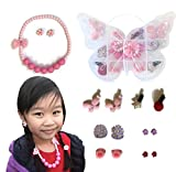 Girls Accessories Jewelry Set (15 pc) with Butterfly Jewelry Organizer Box, Necklace, Clip on Flower Earrings, Hair Clips and Bands Pink Purple (Best gift for 3 to 10 year old Girls)