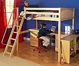 4 pc Kid's Full Size Loft Bed Set w Desk and Half-Width Dresser