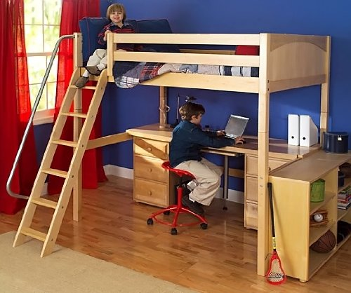 4 pc Kid's Full Size Loft Bed Set w Desk and Half-Width - Maple Bunk Size Twin Bed