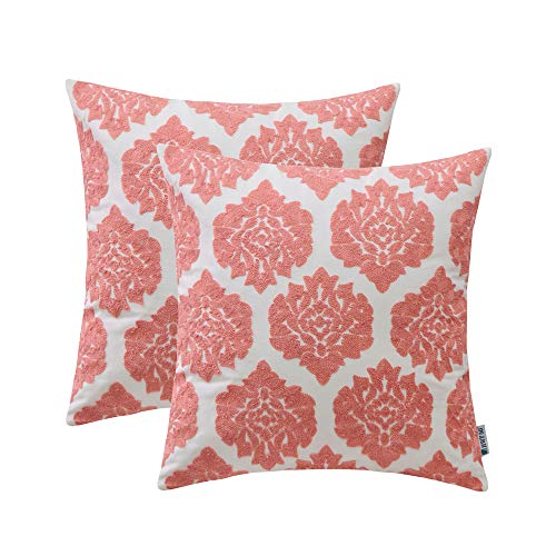 HWY 50 Embroidered Decorative Throw Pillow Covers Sets Cushion Cases for Couch Sofa Living Room Pink Modern Geometric Floral Chic Abstract 18 x 18 inch Pack of 2 ()