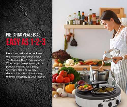 Chefman Triple Slow Cooker & Buffet Server with 3 Removable 1.5 Qt. Oval Crocks, Pot Inserts Individually Heat Controlled, Locking Lid Straps, Spoon & Lid Rests, Stainless Steel by Chefman (Image #3)