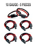 5 pack 12' 10 Gauge 2 Pin Quick Disconnect Audiopipe Polarized Wire Harness