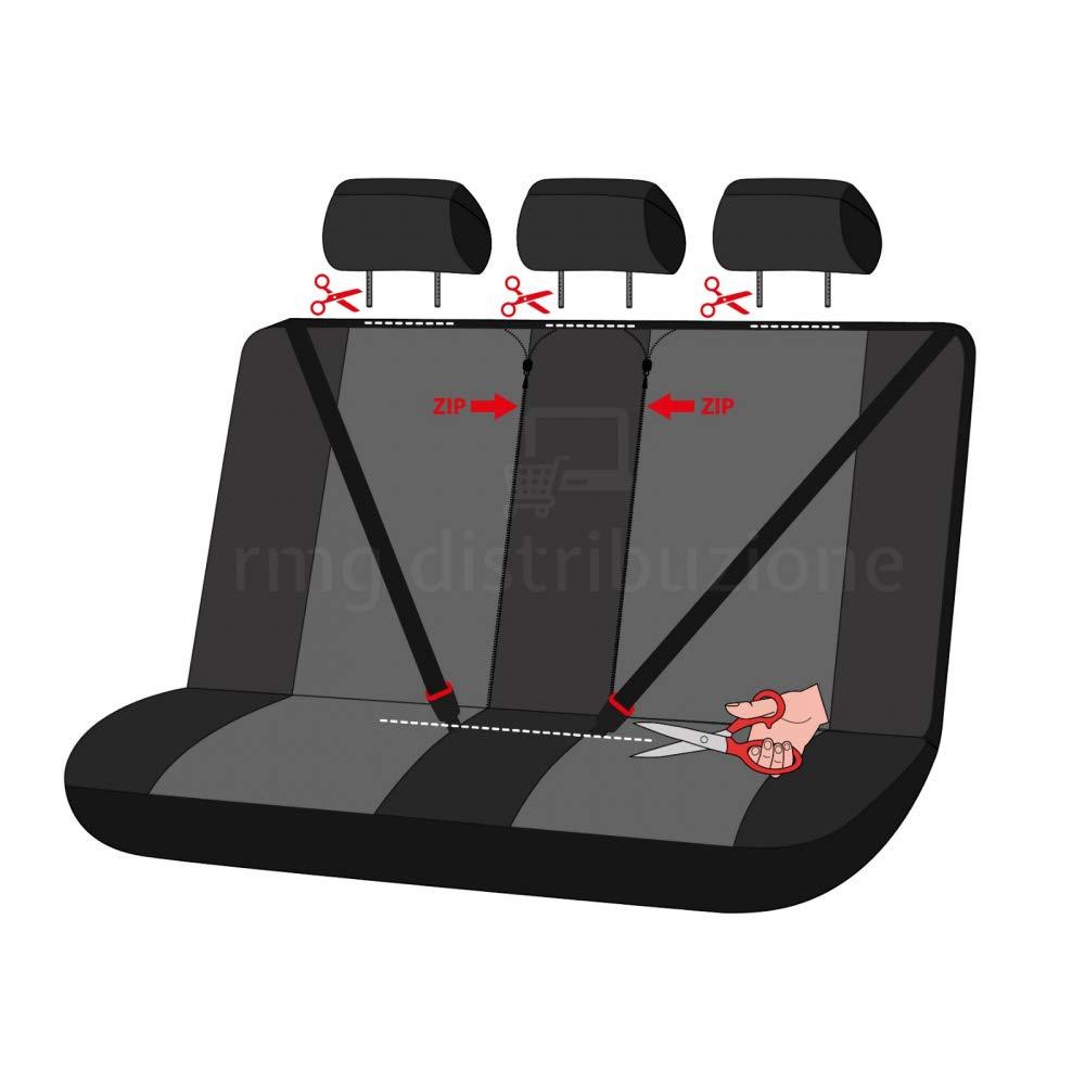rmg-distribuzione Coprisedili per Fiesta Versione sedili Posteriori sdoppiabili R01S0208 2001-2008 compatibili con sedili con airbag bracciolo Laterale V