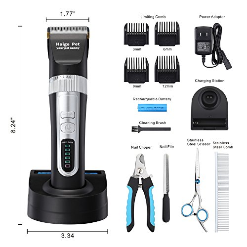 Haige Pet Dog Clippers,Rechargeable Cordless Grooming Electric Clipper Kit Set with Low Noise and Safety Blade Design for Cats and Dogs (Black (Blade Design)