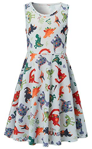Big Girl's Cartoon Dinosaur Dress Size 8 9 Floral Print White Fancy Cute Sweets Gala Birthday Modest Fashion Pretty Nice One-Piece Dresses Formal Twirly Basic Casual Belle Pageant Frock Outfits -