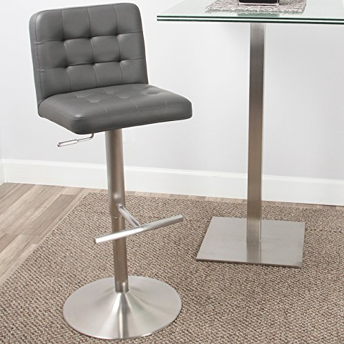 Mix Brushed Stainless Steel Faux Leather Grey Adjustable Height Swivel Bar Stool with Tufted Seat and Round Trumpet Base