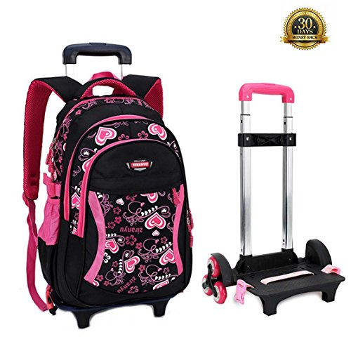 HIGOGOGO Teen Girls Trolley Luggage School Bag with Wheels,Polka Dot 6Wheels Hiking Travel Schoolbag Rolling Backpack Gift for Girls …