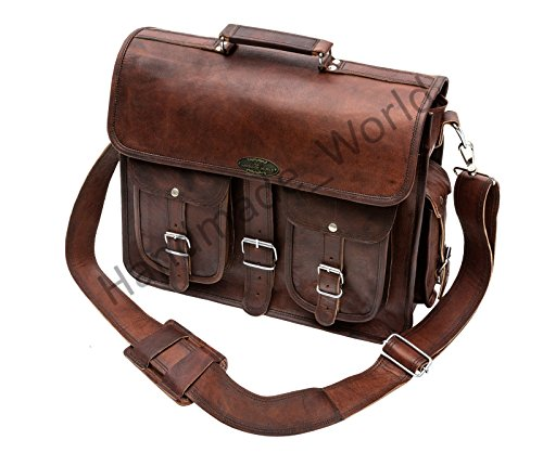 Handmade_world Leather Messenger Bag Brown 18 Inch Air Cabin Briefcase Leather Cross Body Shoulder Large Laptop School Bag by Handmade_world (Image #3)