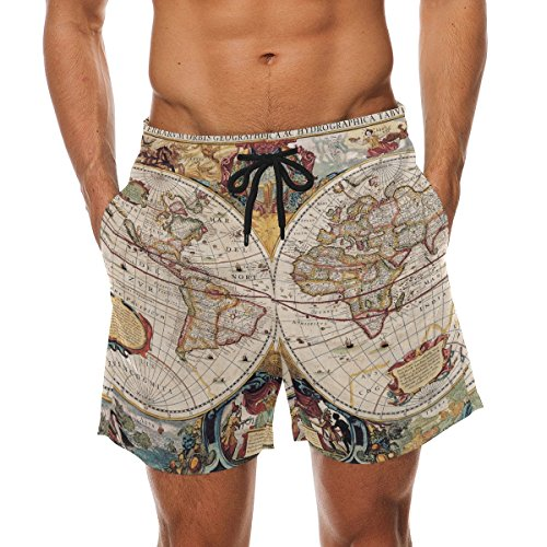 Old World Linens (XiangHeFu Men's Beach Shorts Old World Map Swim Trunk with Pockets)