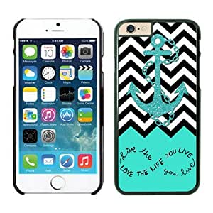 BINGO retail Live The Life You Love, Love The Life You Live. Turquoise Black and White Chevron With Anchor iPhone 6 plus Case Black