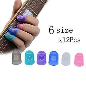 12pcs fingertip protector fingerstall silicone guitar string finger guard left hand. Black Bedroom Furniture Sets. Home Design Ideas