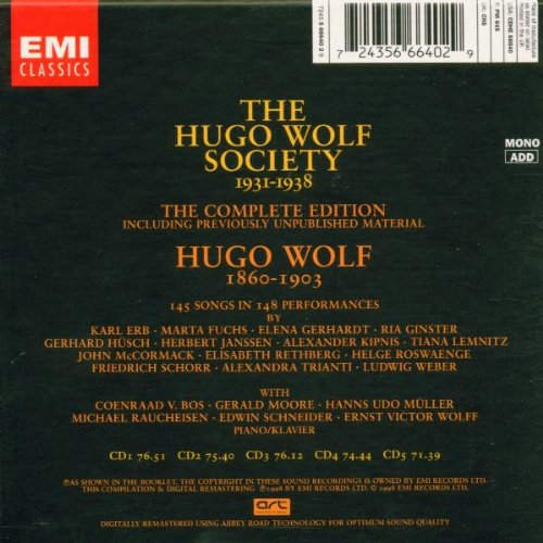 The Hugo Wolf Society - The Complete Edition 1931-1938 by EMI Import