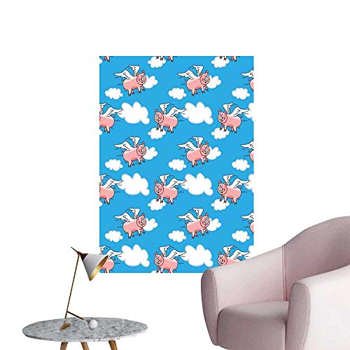 Pig Decor Wall Mural Wallpaper Stickers Flying Pig Cartoon Characters with Wings to Represent The Saying bar Cafe Poster Great Kid Clouds W24 x H36 -