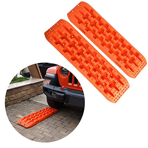 (Yeeoy Set of 2 Car Non-Slip Mats Orange Traction Mat Tire Aid Fit to Off-Road Mud Sand Snow Vehicle)