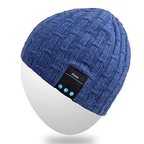 Rotibox Unisex Adult Bluetooth Beanie Hat Trendy Soft Warm Audio Cap Musicphone with Wireless Headphone Headset Speaker Mic Hands-Free, for Winter Outdoor Sport Skiing Snowboard - Blue