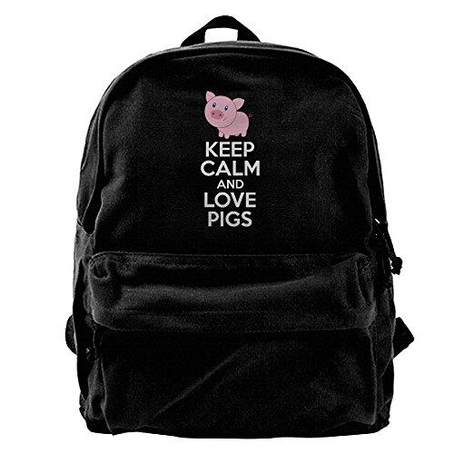 AHOOCUSTOM Keep Calm and Love Pigs Canvas Shoulder Backpack Men & Women Canvas Backpack School Laptop Bag Hiking Travel Rucksack
