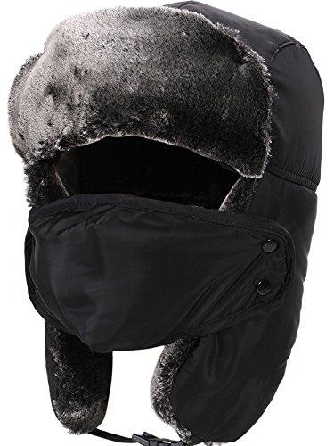 Simplicity Women Men's Weatherproof Faux Fur Lined Trapper Hat w/ Earflaps Black