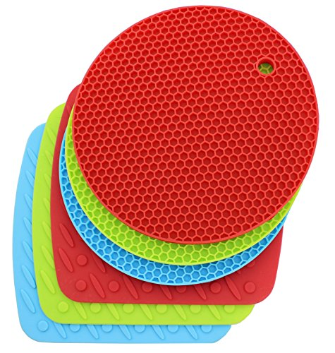 ★6 Pack/2 Kinds Hot!★ Anfimu Multi Color Silicone Pad Holder, Trivet Mat, Jar Opener, Spoon Rest and Garlic Peeler - Round Honeycomb & Square - Non Slip, Flexible, Durable, Dishwasher Safe, Heat Resistant Coasters Cup Insulation Mat