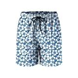 Graphic Navy White Tropical Flowers Mens Breathable Beach Shorts Drawstring