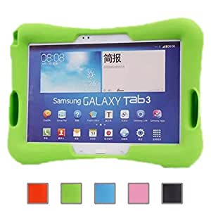 NEWSTYLE Shock Proof Case Light Weight Kids Super Protection Cover with Audio Amplifier Design For Samsung Galaxy Tab 3 10.1-inch Tablet P5200 P5210 & Samsung Galaxy Tab 4 10.1 inch SM-T530 SM-T531 SM-T535 (Green) by NEWSTYLE