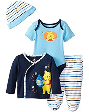 Baby Boys' Winnie The Pooh 4 Piece Gift Set