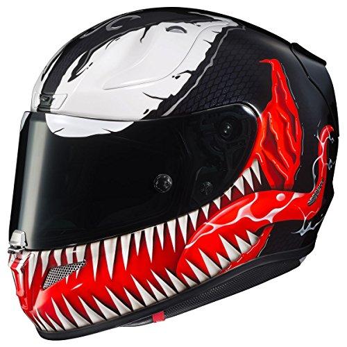 HJC Helmets Marvel Unisex-Adult Full-Face Helmet (Black/Red/White, X-Large) (RPHA-11 Pro Venom MC-1)