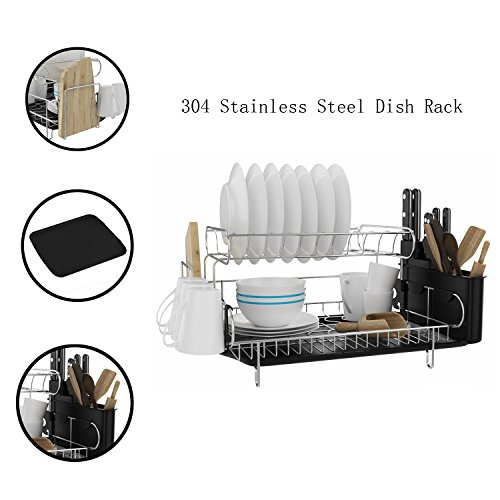 Mewalker 2 Tier Dish Drying Rack 304 Stainless Steel Professional Dish Rack with Microfiber Mat Drain Board and Cutlery Holder, Black by Mewalker