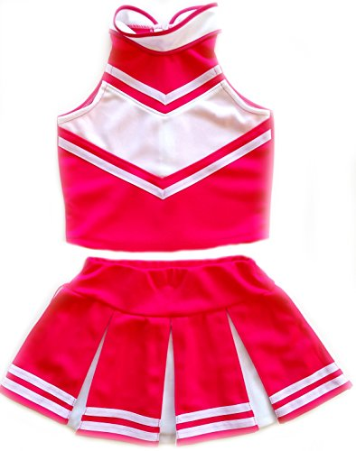 Little Girls' Cheerleader Cheerleading Outfit Uniform Costume Cosplay Pink/White (M / 5-8)