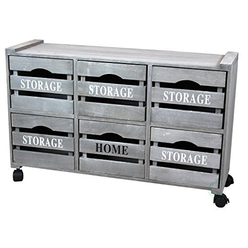 Rustic Gray Cabinet Storage Chest with 6 Crate Style Drawers, Free Optional Rolling Casters Included (Sideboards Distressed)