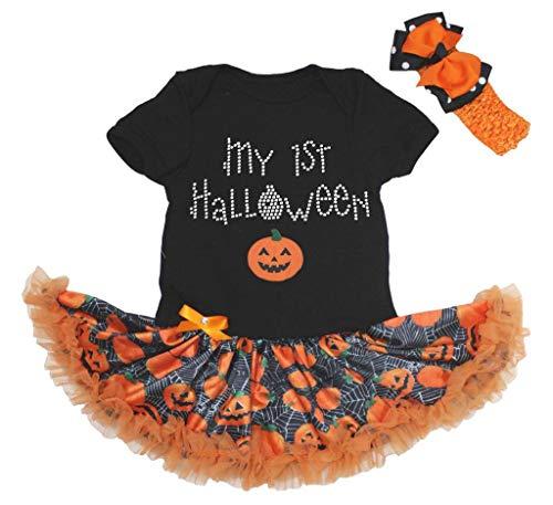 Petitebella My 1st Halloween Pumpkin Bodysuit Tutu Baby Dress Nb-18m (Black/Pumpkins, 6-12 Months)