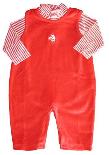 Kissy Kissy Baby-Boys Infant Santa's Helpers Velour Overall Set-Red-6-9 Months Cotton Velour Overalls