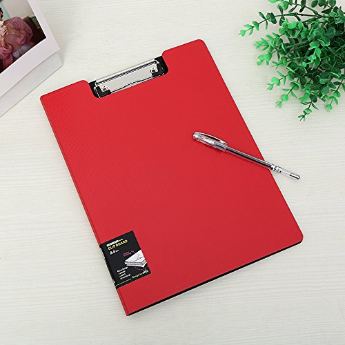 File Cover Folder Clipboard, Profile Clip File Folder, 360 Degree Flip Writing Pad, PP File Clipboard for A4 and Letter size Business, Office, School Papers - Horizontal, Red - File Letter Pad