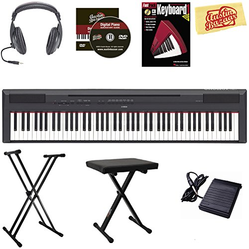 Yamaha P-115 Digital Piano - Black Bundle with Adjustable Stand, Bench, Sustain Pedal, Headphones, Instructional Book, Austin Bazaar Instructional DVD, and Polishing Cloth