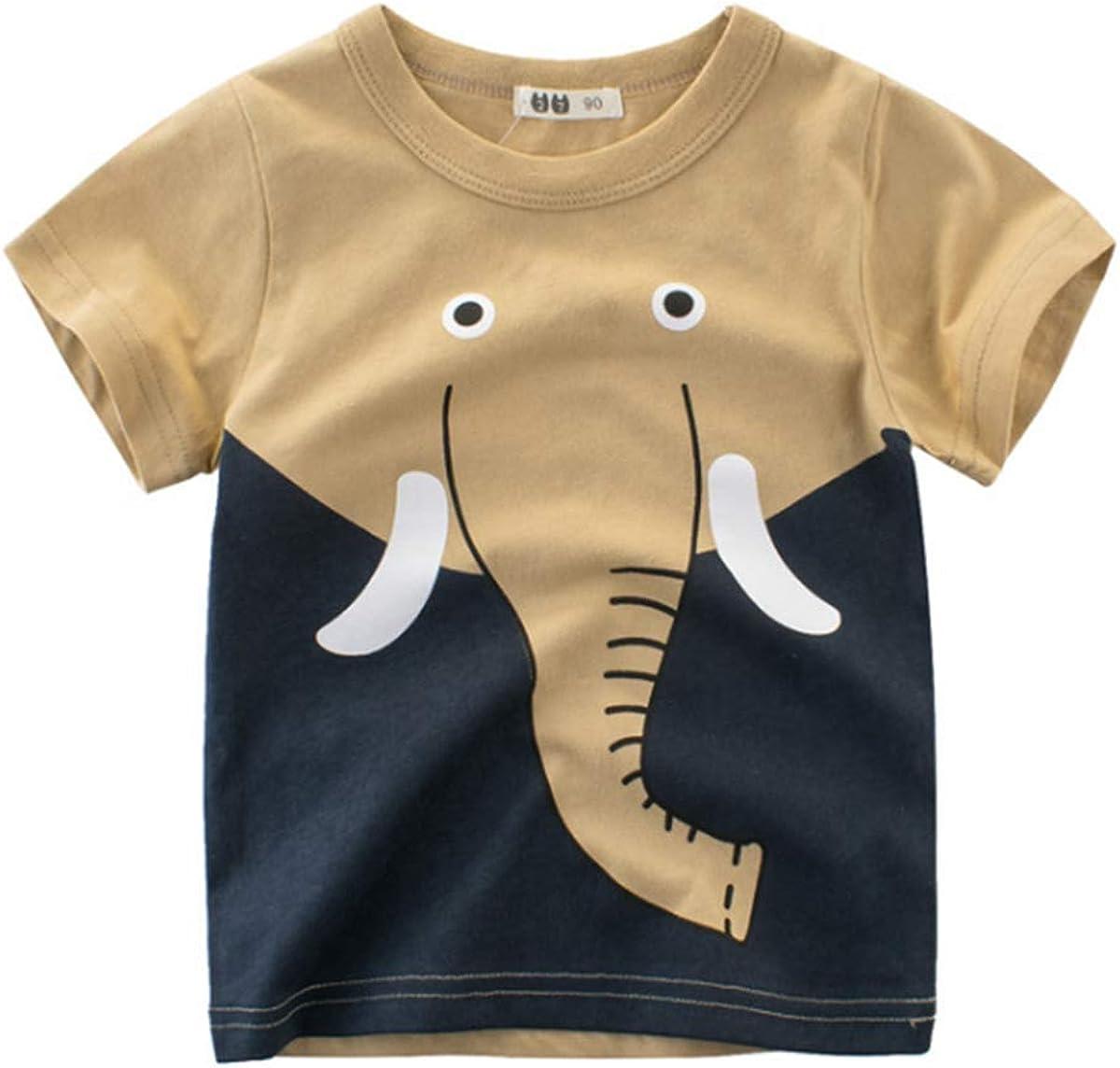 WINZIK Toddler Kids Boys Summer Cotton Short Sleeve Shirt Cartoon Graphic Crewneck Tee Tops Blouse Outfit Clothes