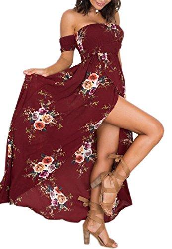 Women's Sexy Cold Shoulder Short Sleeve Floral Maxi Long Slit Dress 5XL