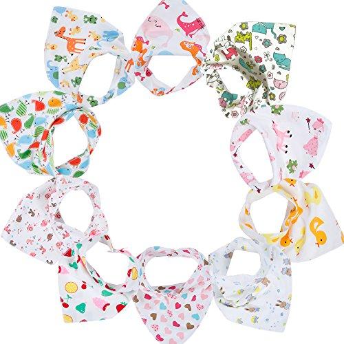 Gemini Fairy Baby Bandana Drool Bibs, Unisex 10-pack Absorbent Cotton, Lovely Baby Gift for Boys & Girls (Model 1)