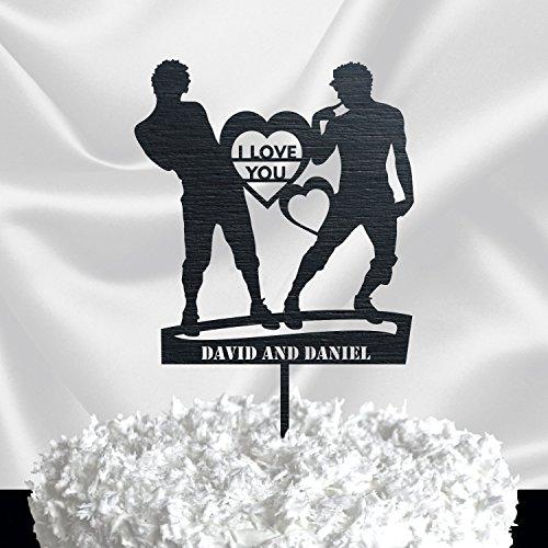 (GAY CAKE TOPPER // Wedding Cake Topper Silhouette Couple - Same Sex Wedding Cake Topper - Groom and Groom Cake Topper Black)