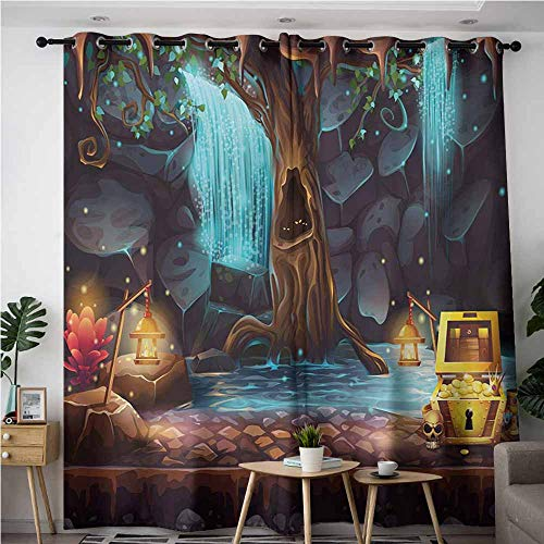 (VIVIDX Blackout Curtains,Fantasy Cartoon Style Cave Landscape with a Big Tree Treasure Chest Lamps and Waterfall,Curtains for Living Room,W72x108L,Multicolor)