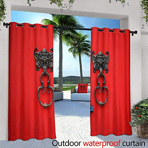 Lightly Fashions Drape,Vintage Carousel,W72 x L96 Outdoor Curtain for Patio,Outdoor Patio Curtains ()