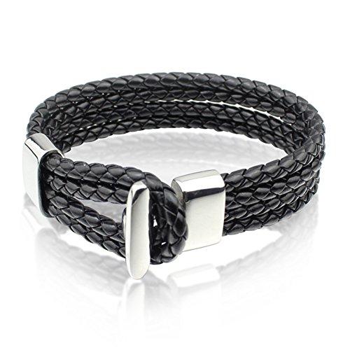 Cheo Rish Vintage Gothic Black Genuine Leather Bracelet Stainless Steel Clasp,8.5Inch (Mens Bracelet Abercrombie)