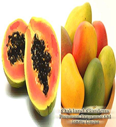 Mango Papaya Fragrance (Papaya Mango Scented Fragrance Oil - Formulated to work with Reed Sticks & Diffuser - By Oakland Gardens (Papaya Mango - 4oz Bottle))