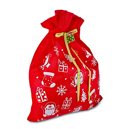 "3 Giant Christmas Gift Bags 36"" x 44"" Reusable Made of Durable Fabric with Ribbon and Gift Tag for Holiday Wrapping Extra Large Jumbo Huge Oversized Toys Gift Bags by Gift Boutique"