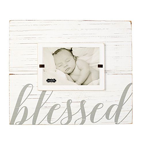 Mud Pie 4695383 Painted Wood Blessed Photo Frame, 4