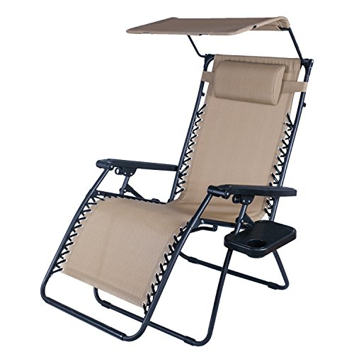 Adeco Outdoor Folding & Reclining Zero Gravity Chair with Canopy Awning, for Lounge Patio Yd Beach, Foldable & Mobile, Grey, Blue