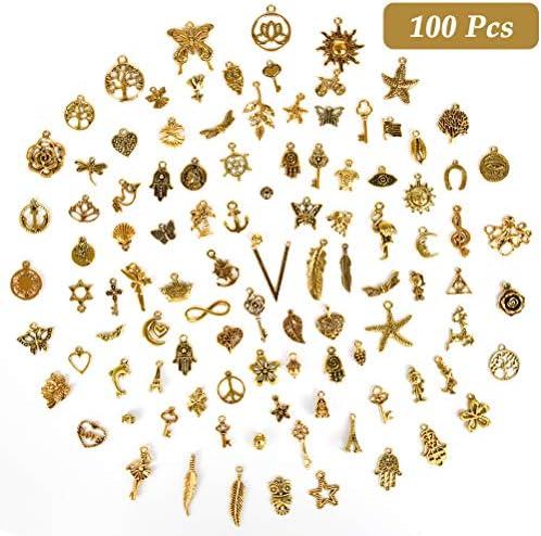 [スポンサー プロダクト]TIMESETL 100個入り 金古美 チャーム アクセサリーパーツ ペンダント イヤリング ピアス