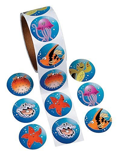 tropical sea life roll stickers