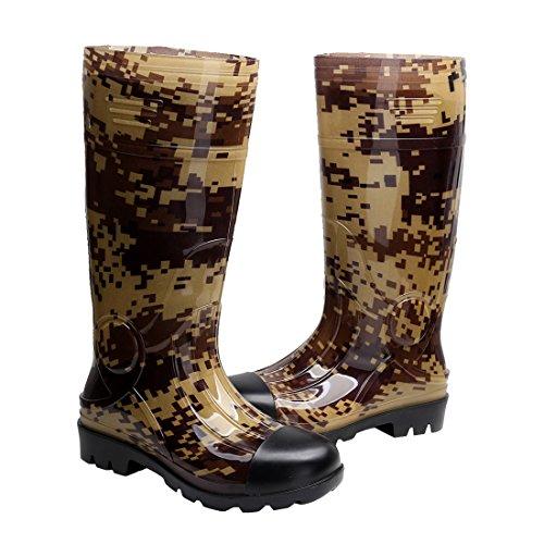 Kontai Man Knee High Rubber Rainboots Camo Waterproof Rubber Boots for Garden Man Rain Footwear Size