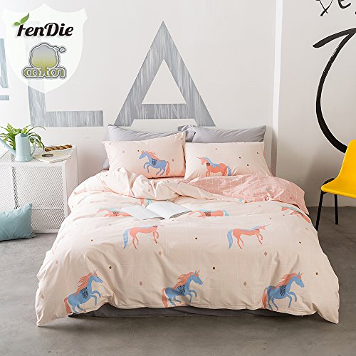 Horse Friends Quilt (FenDie Kids Teens Grid Percale Duvet Cover Twin/Full/Queen Size Reversible Cotton Boys Girls Bedding Set with Zipper Closure Corner Ties (Queen, Horse))