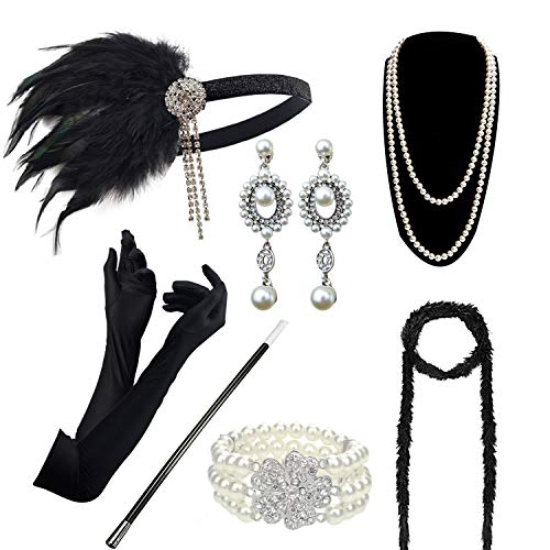 DRESHOW 1920s Accessories Sets Costume Gatsby Feather Headband